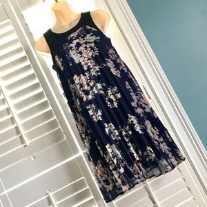 NEW Xhilaration XS Navy Pleated Trapeze Dress